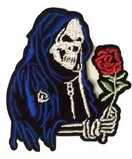 "(Y) GRIM REAPER SKELETON with ROSE 3"" x 2.5"" sew / iron on patch Skull applique"