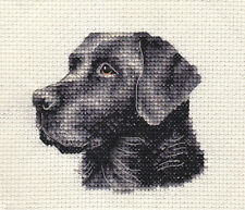 BLACK LABRADOR RETRIEVER dog, puppy ~  Full counted cross stitch kit