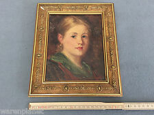 MONOGRAM r.w. B.W. raunler? huile tableau ancien portrait fille dame LADY GIRL