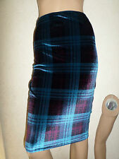 BLUE RED TARTAN STRETCH VELOUR PENCIL SKIRT  SIZE 10 KNEE LENGTH