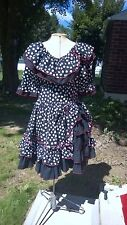 Squaredance, Western, Lolita, PIn Up, Womens Black and White Polka Dot Dress