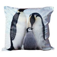 "Penguins Cushion Cover 17"" x 17"" - Photographic Print Animal Blue Cushion Case"