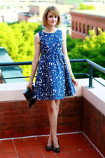 ZARA NAVY BLUE FLORAL PLEATED PROM TULIP DRESS XS EXTRA SMALL 6 8 2 4 34 36