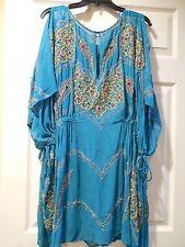 NWT Free People Kaleidoscope Embellished Mini Dress Turquoise SZ L $298 Stunning