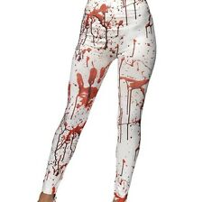 Damen Halloween Kostüm Horror Leggings mit Blood Flecken Neu von Smiffy