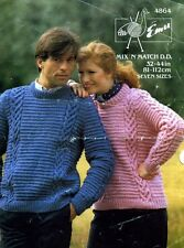 Emu 4864 His/Hers Chunky Sweater Vintage Knitting Pattern 32-44ins