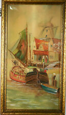 Vintage - from 1935  Water Color - Dutch Scene - Boats in Harbor by G.J. Eckardt