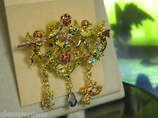 Kirks Folly 4 ANGELS DRAGONFLY BUTTERFLY MUSICAL PIN BROOCH