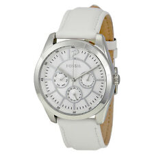 Fossil Silver Dial White Leather Strap Ladies Watch BQ1457