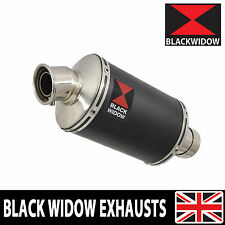 BLACK WIDOW BLACK STAINLESS EXHAUST SILENCER END CAN 230MM OVAL SLIP ON BN23V