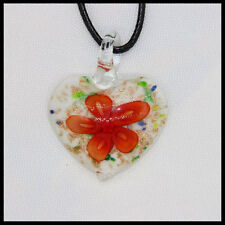 Fashion Women's heart lampwork Murano art glass beaded pendant necklace #Q15