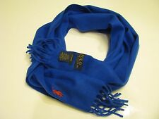 Authentic Polo Ralph Lauren Classic 100%Cashmere Royal Blue Scarf Unisex Italy