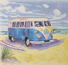Nautical VW Camper Van Surf Board Seaside Beach Vintage Picture Plaque