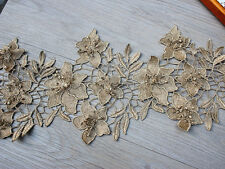 "7.87""*1Y  Metallic 3D Gold Venice Lace Trim,Gold Lace Trim with 3D Flowers"