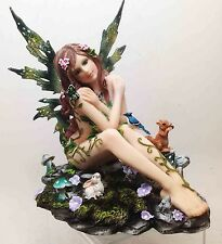 "6.75""h Faery Forest Fairy Sitting with Bird Squirrel Butterfly Figurine Statue"