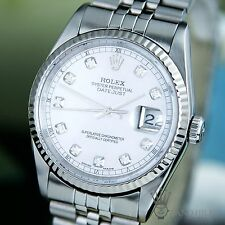 Rolex DateJust 16234 18K White MOP Diamond Dial Sapphire 36mm Mens Pearl