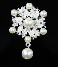 Silver Tone Pearl Vintage Rhinestone Wedding Bridal Bouquet Flower Brooch Pin