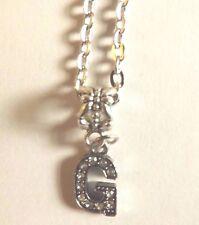 collier chaine argenté 46 cm avec pendentif lettre strass G