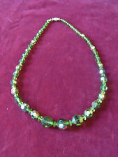 BIJOU N20 Collier perles verre vert VINTAGE 60 green glass beads NECKLACE JEWEL