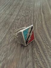 STAINLESS STEEL VINTAGE 1980'S LIGHTNING BOLT ROCK & ROLL INLAY MENS RING SZ.10