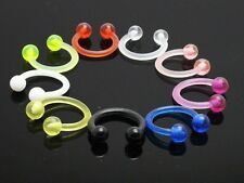 9 x UV Acrylic Plastic Horseshoe Bar -- Lip Nose Eyebrow Ear Septum Rings