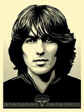"Poster for George Harrison Silk Screen Print Shepard Fairey Signed 18"" x 24"""