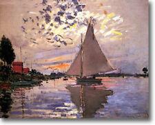 Claude Monet Sailboat Le Petit-Gennevilliers Fine Art Canvas Giclee Sample Print