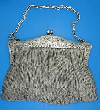 "ANTIQUE FRENCH 19c. ORNATE A. VAGUER STERLING CHAIN MAIL MESH PURSE 9"" W /446g"