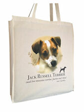 Jack Russell Terrier Reusable Cotton Shopping Bag Tote Gusset & Long Handles