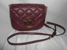 MICHAEL KORS FULTON QUILT SMALL FLAP CROSSBODY MERLOT RED LEATHER HANDBAG PURSE