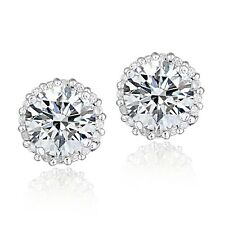 Platinum Plated Sterling Silver 2ct Cubic Zirconia Halo Earrings