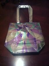 IVIVVA by Lululemon LIMITEDEDITION Tote Beach BAG Purse Silver Foil Green Purple
