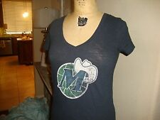 NBA Dallas Mavericks Throwback Retro Logo Distressed V Neck T shirt Ladies Fit M
