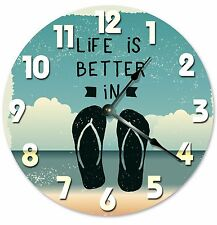 "LIFE IS BETTER In Flip Flops Clock - Large 10.5"" Wall Clock - 2033"