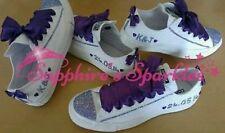 Personalizzato Sposa Cadburys Scarpe Viola Mono Tutto Bianco Converse 3 4 5 6 7