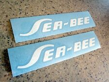 "Sea Bee Vintage Outboard Motor Decals 8"" White FREE SHIP + FREE Fish Decal!"