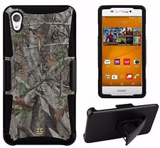 For Sony Xperia Z3V Hybrid Case Armor Clip Holster Autumn Tree Camouflage Cover