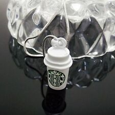 "Popular Starbuck Coffee Pendant 16"" Necklace Chain White Alloy Made in Korea HOT"