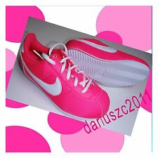 Nike Cortez nylon ps girl's  sneakers shoes size 2 Y Youth  white/pink.