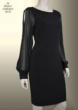 IVANKA TRUMP Women Dress Size 6 Black Sheer Sleeves Knee Length Dressy NWT