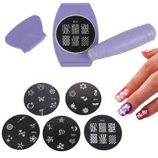 Pro DIY Nail Art Stamping Stamper Printer Spatula Scraper Template Tool Kit - UK