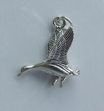 FLYING GOOSE BIRD 3D CHARM 925 STERLING SILVER
