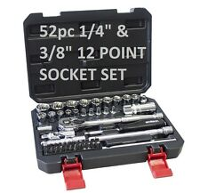 "amtech 52pc 1/4"" & 3/8"" 12 POINT SOCKET SET"