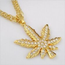 "Hip Hop Iced Out WEED Marijuana Leaf Pot Pendant Necklace with 32"" Chain"