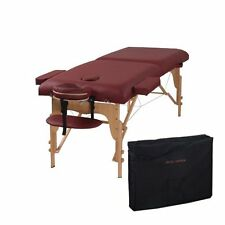 Two Fold Burgundy Portable Massage Table - PU Leather High Quality