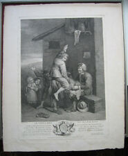 Radierung von P. Chenu: Greis Kinder Bockspringen 1755/Etching Children Leapfrog