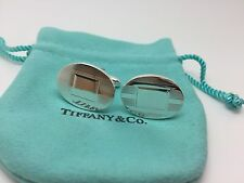 Tiffany & Co Silver Engine Turned Oval Cuff Links Cuff Link Cufflinks With Pouch