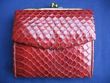 Vintage 1950s Red REAL Snakeskin Leather Purse Exc. Condition satin suede lined