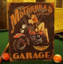 MOTORHEAD GARAGE METAL SIGN* harley shop pinup girl mancave motorcycle bike