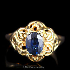 Vintage Oval Sapphire in Scalloped Flower Ring 14K Yellow Gold